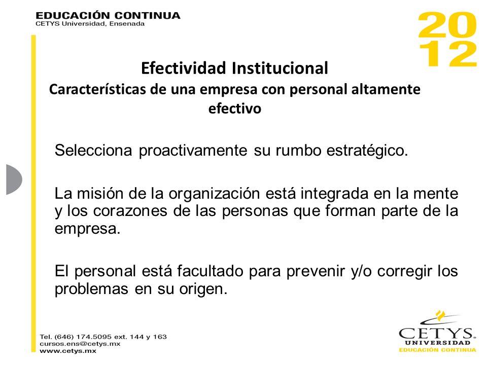 Efectividad Institucional Características de una empresa con personal altamente efectivo Selecciona proactivamente su rumbo estratégico. La misión de