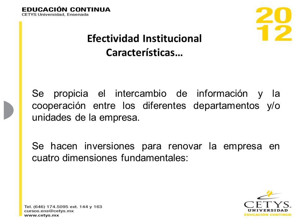 Se propicia el intercambio de información y la cooperación entre los diferentes departamentos y/o unidades de la empresa. Se hacen inversiones para re