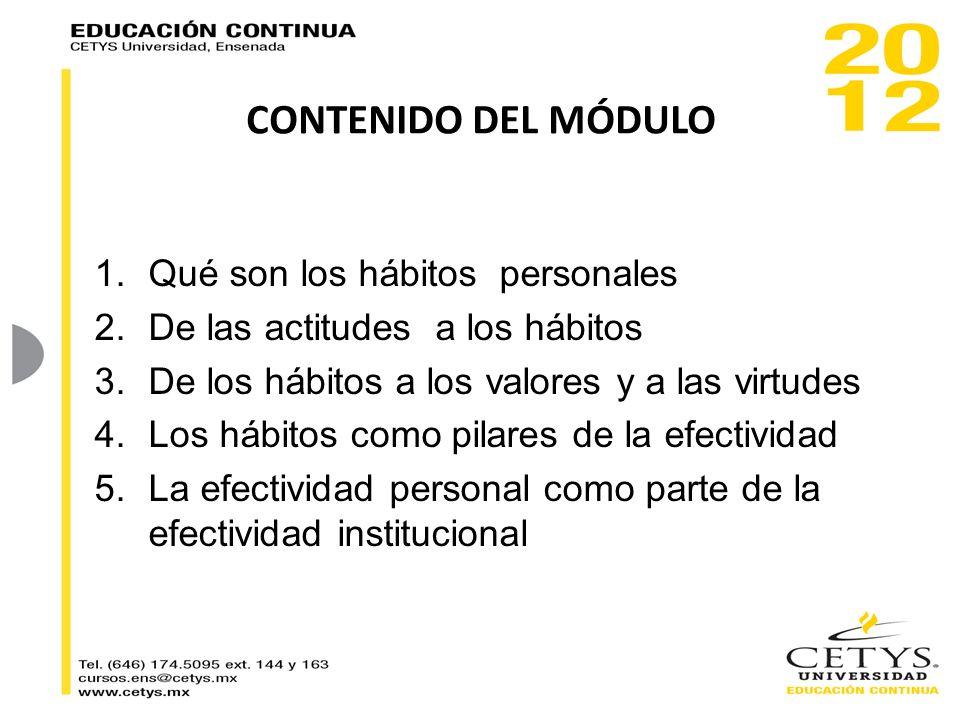 CONTENIDO DEL MÓDULO 1.Qué son los hábitos personales 2.De las actitudes a los hábitos 3.De los hábitos a los valores y a las virtudes 4.Los hábitos c