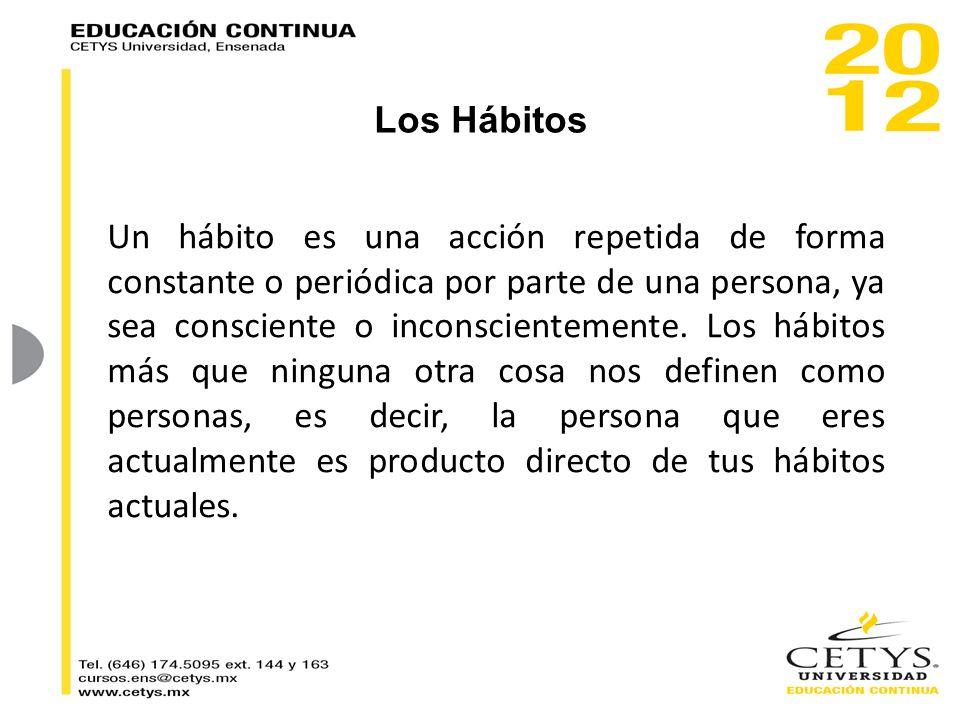 Un hábito es una acción repetida de forma constante o periódica por parte de una persona, ya sea consciente o inconscientemente. Los hábitos más que n