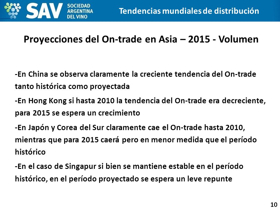Proyecciones del On-trade en Asia – 2015 - Volumen 10 Tendencias mundiales de distribución -En China se observa claramente la creciente tendencia del