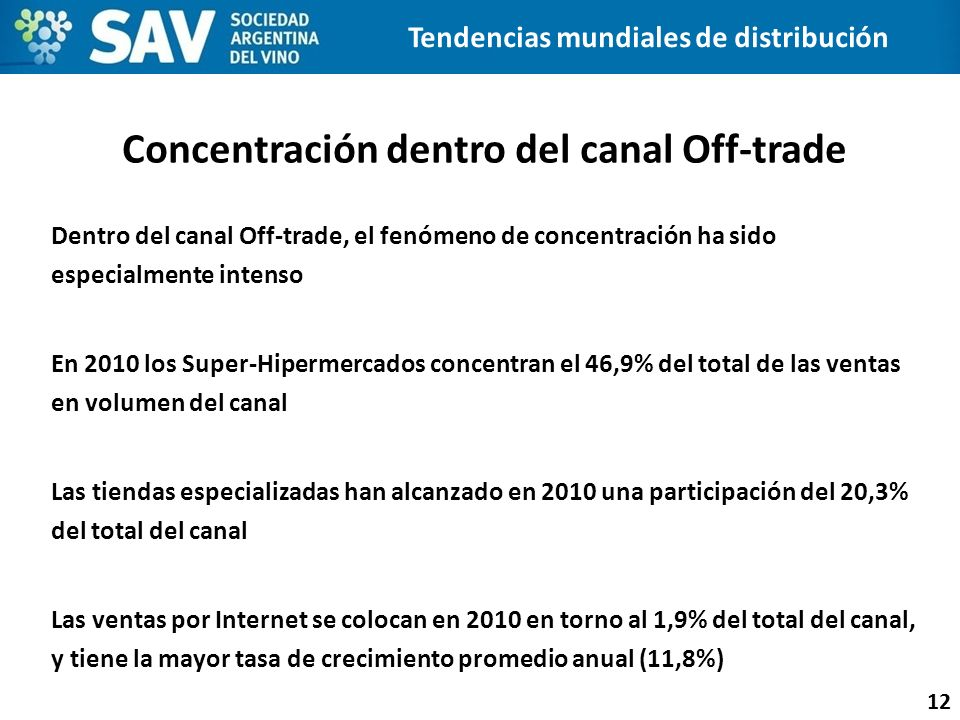 Concentración dentro del canal Off-trade 12 Dentro del canal Off-trade, el fenómeno de concentración ha sido especialmente intenso En 2010 los Super-H