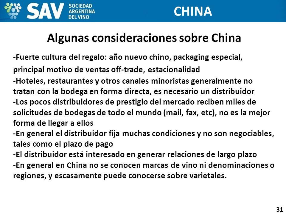 Algunas consideraciones sobre China 31 CHINA -Fuerte cultura del regalo: año nuevo chino, packaging especial, principal motivo de ventas off-trade, es