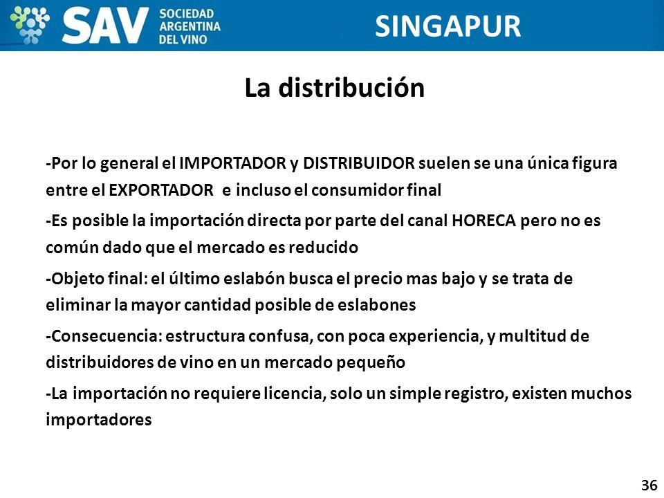La distribución 36 SINGAPUR -Por lo general el IMPORTADOR y DISTRIBUIDOR suelen se una única figura entre el EXPORTADOR e incluso el consumidor final