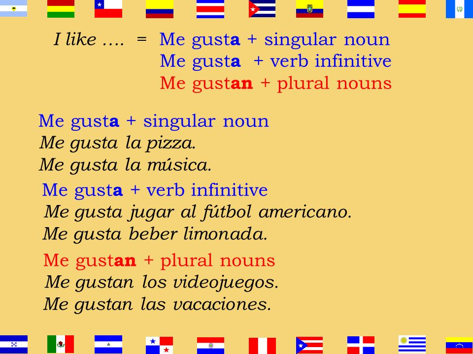 El Verbo = GUSTAR En español gustar significa to be pleasing In English, the equivalent is to like
