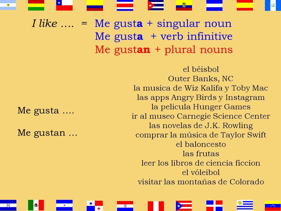 I like …. = Me gust a + singular noun Me gust a + verb infinitive Me gust an + plural nouns singular noun Me gusta… verb infinitive Me gusta … plural