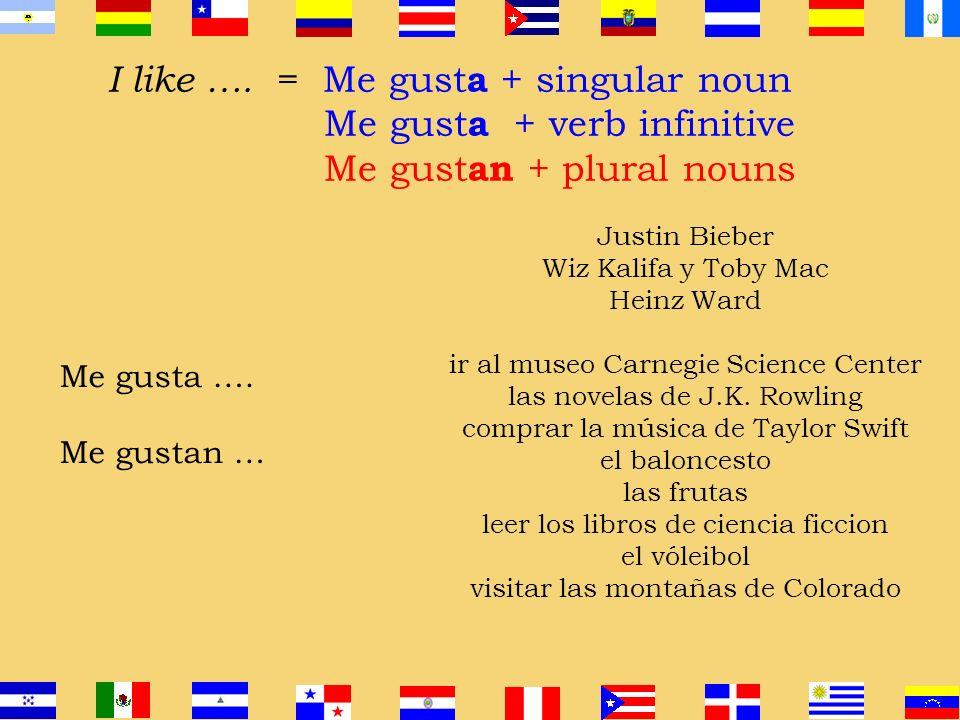 I like …. = Me gust a + singular noun Me gust a + verb infinitive Me gust an + plural nouns el béisbol Outer Banks, NC la musica de Wiz Kalifa y Toby