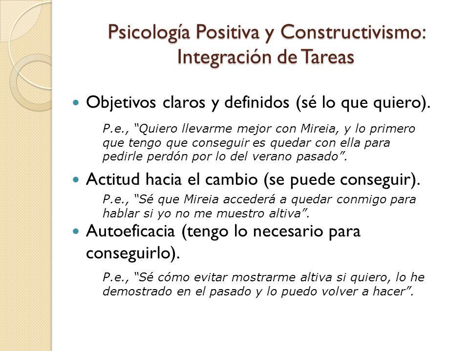 Psicología Positiva y Constructivismo: Integración de Tareas Objetivos claros y definidos (sé lo que quiero). Actitud hacia el cambio (se puede conseg
