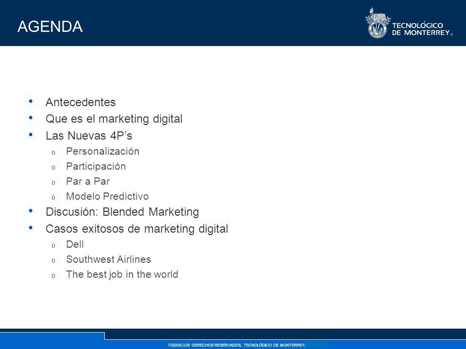 TODOS LOS DERECHOS RESERVADOS, TECNOLÓGICO DE MONTERREY, AÑO 2007 AGENDA Antecedentes Que es el marketing digital Las Nuevas 4Ps o Personalización o P