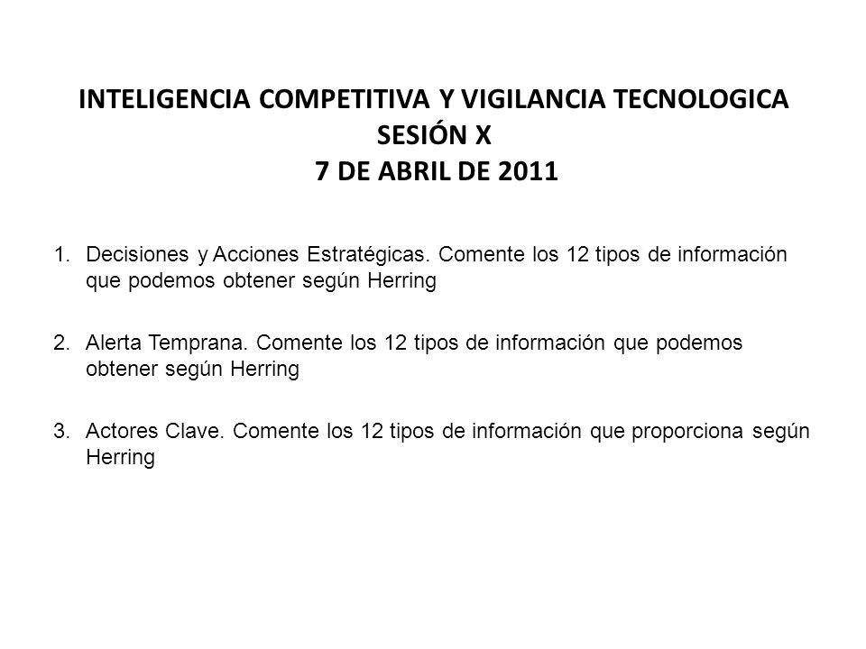 INTELIGENCIA COMPETITIVA Y VIGILANCIA TECNOLOGICA SESIÓN X 7 DE ABRIL DE 2011 1.Decisiones y Acciones Estratégicas. Comente los 12 tipos de informació