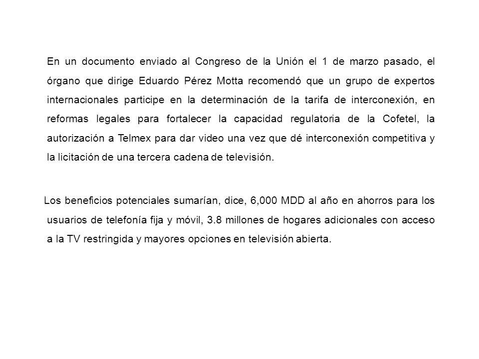 En un documento enviado al Congreso de la Unión el 1 de marzo pasado, el órgano que dirige Eduardo Pérez Motta recomendó que un grupo de expertos inte