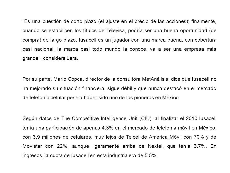Es una cuestión de corto plazo (el ajuste en el precio de las acciones); finalmente, cuando se estabilicen los títulos de Televisa, podría ser una buena oportunidad (de compra) de largo plazo.