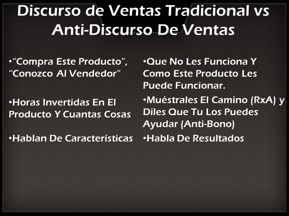 Discurso de Ventas Tradicional vs Anti-Discurso De Ventas Compra Este Producto, Conozco Al Vendedor Horas Invertidas En El Producto Y Cuantas Cosas Ha