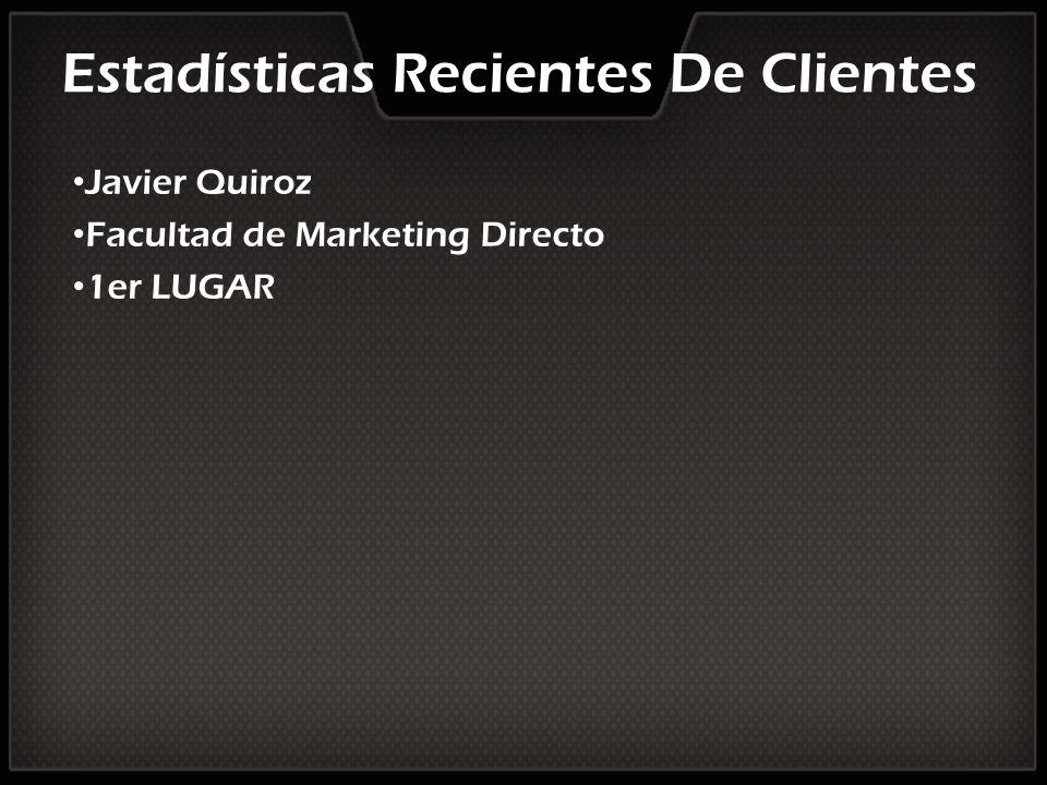 Estadísticas Recientes De Clientes Javier Quiroz Facultad de Marketing Directo 1er LUGAR