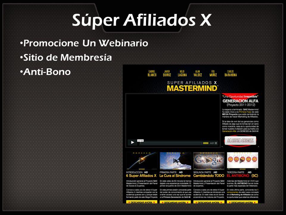 Súper Afiliados X Promocione Un Webinario Sitio de Membresía Anti-Bono