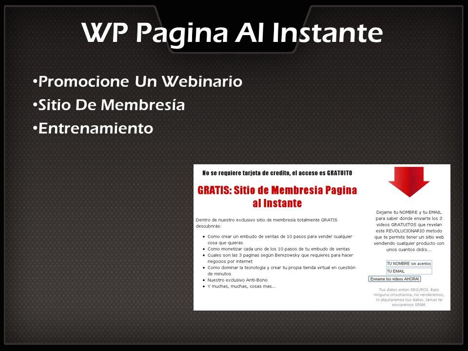 WP Pagina Al Instante Promocione Un Webinario Sitio De Membresía Entrenamiento
