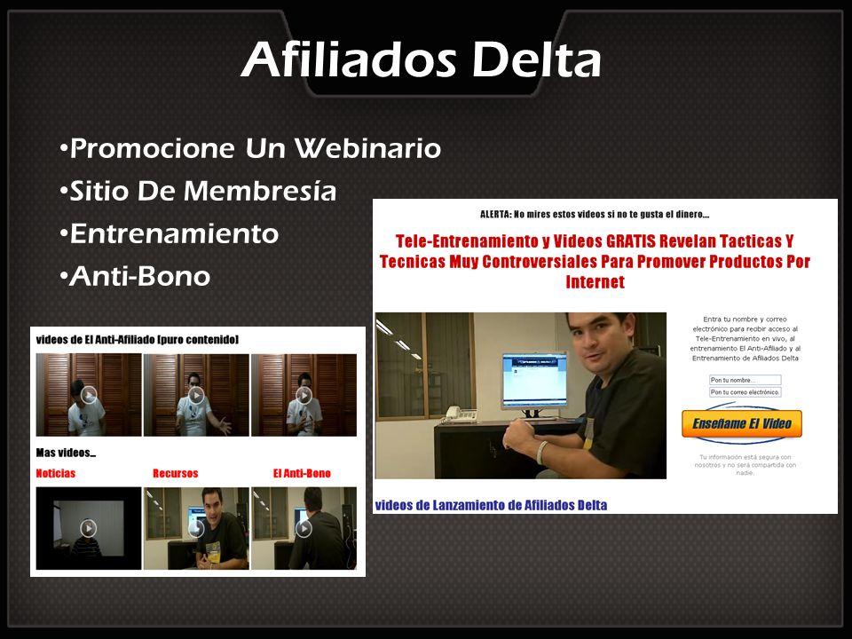 Afiliados Delta Promocione Un Webinario Sitio De Membresía Entrenamiento Anti-Bono