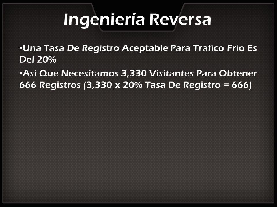 Ingeniería Reversa Una Tasa De Registro Aceptable Para Trafico Frio Es Del 20% Así Que Necesitamos 3,330 Visitantes Para Obtener 666 Registros (3,330