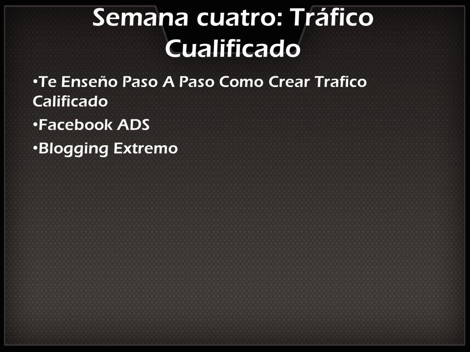 Semana cuatro: Tráfico Cualificado Te Enseño Paso A Paso Como Crear Trafico Calificado Facebook ADS Blogging Extremo
