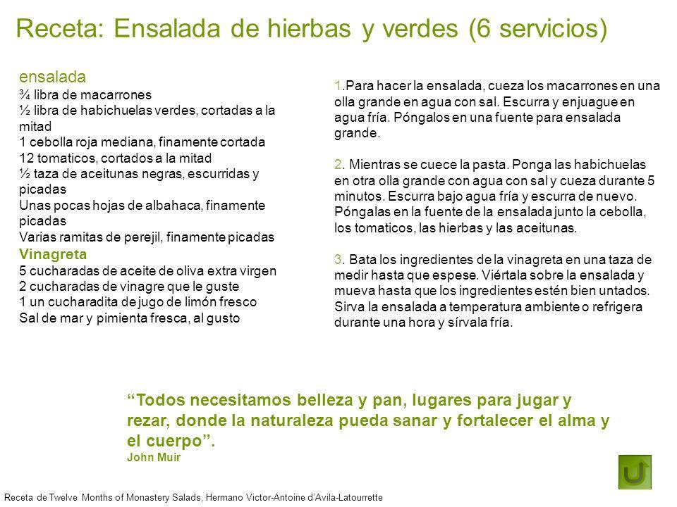 Receta: Ensalada de hierbas y verdes (6 servicios) Receta de Twelve Months of Monastery Salads, Hermano Victor-Antoine dAvila-Latourrette Todos necesi