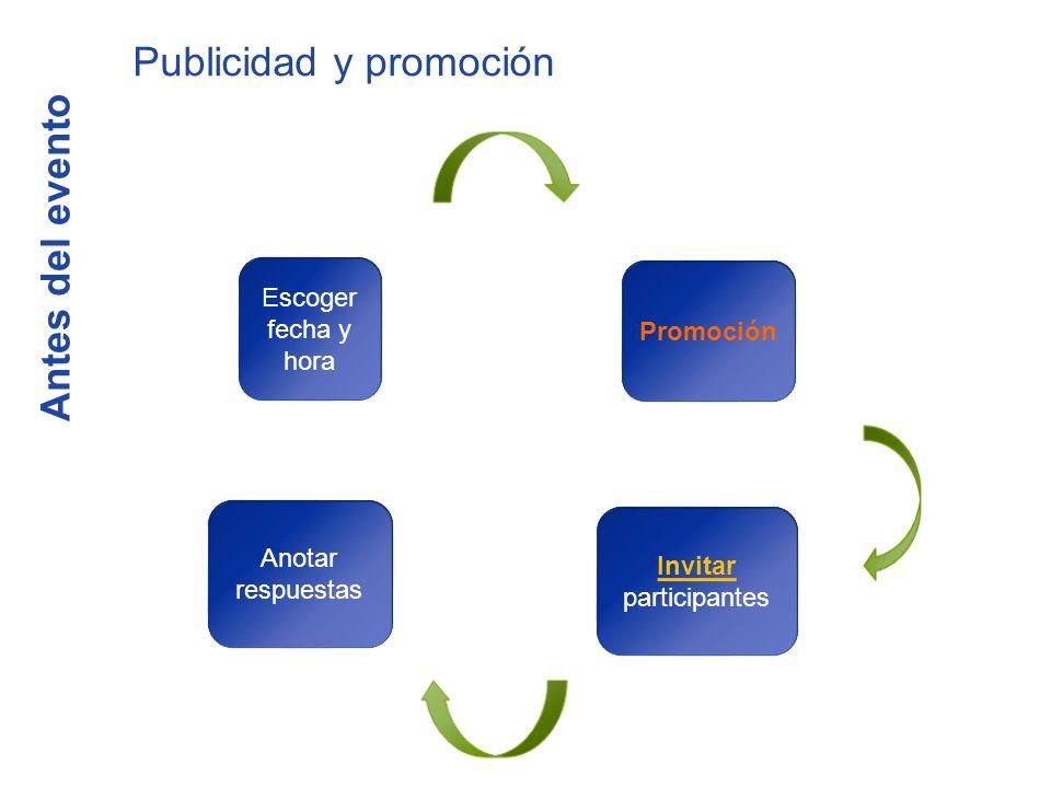 Antes del evento Publicidad y promoción Escoger fecha y hora Promoción InvitInvitar participantes Anotar respuestas