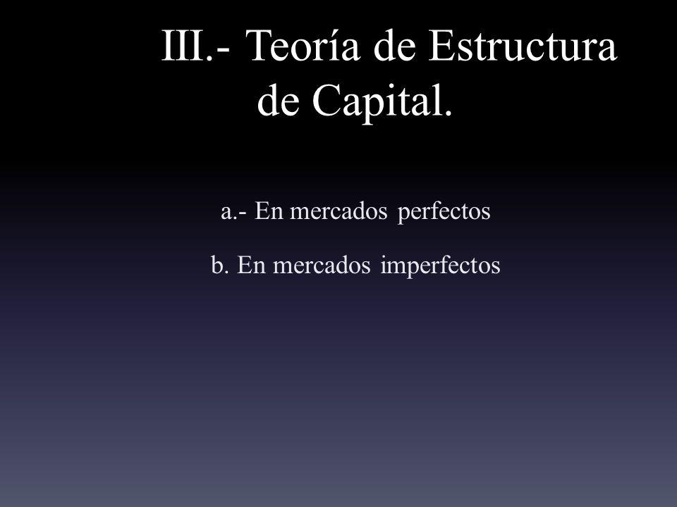 III.- Teoría de Estructura de Capital. a.- En mercados perfectos b. En mercados imperfectos