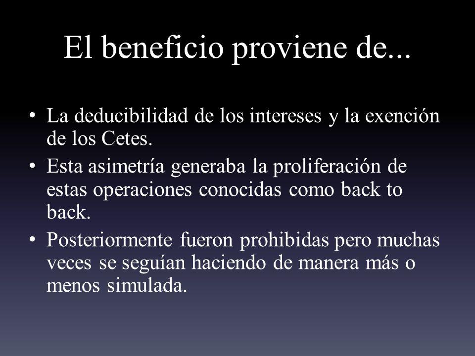 El beneficio proviene de...La deducibilidad de los intereses y la exención de los Cetes.