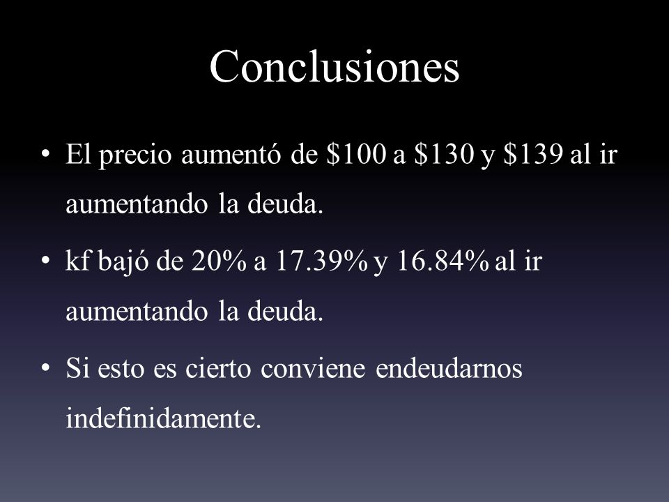 Conclusiones El precio aumentó de $100 a $130 y $139 al ir aumentando la deuda.