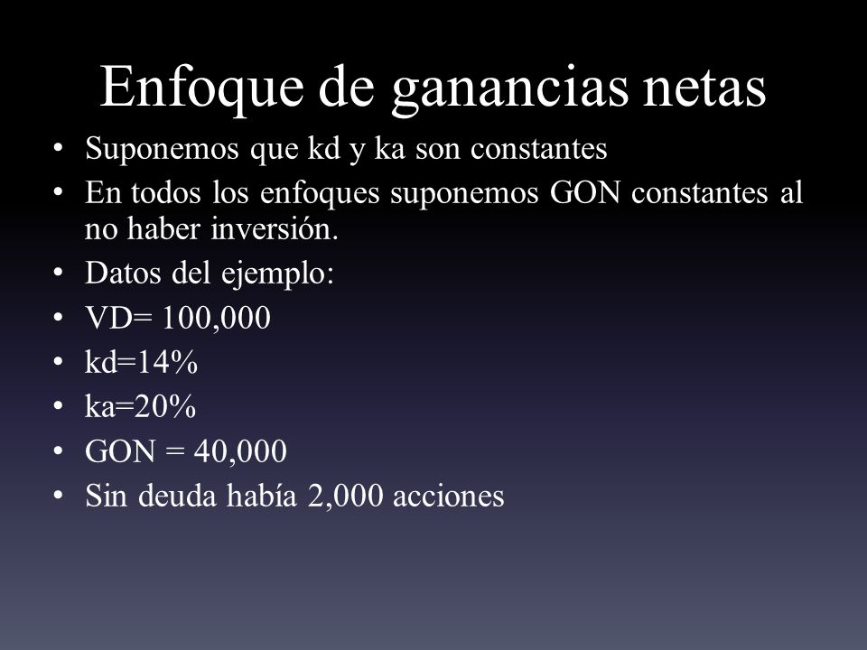 Estimaciones GON 40,000 Menos intereses 14,000 = GN 26,000 VA = GN/ka = 26,000/0.24 = 108,333 VF=VD+VA=100,000+108,333=208,333 kf= GON / VF = 40,000/208,333= 19.2%