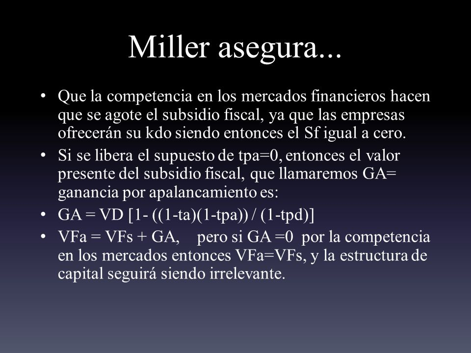 Miller asegura...