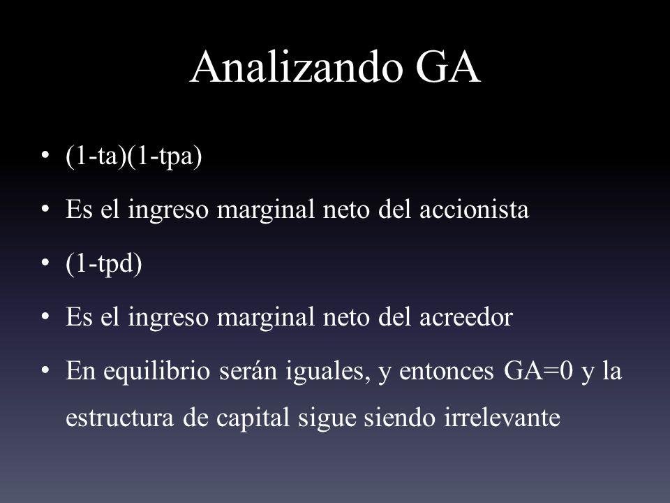 Analizando GA (1-ta)(1-tpa) Es el ingreso marginal neto del accionista (1-tpd) Es el ingreso marginal neto del acreedor En equilibrio serán iguales, y entonces GA=0 y la estructura de capital sigue siendo irrelevante