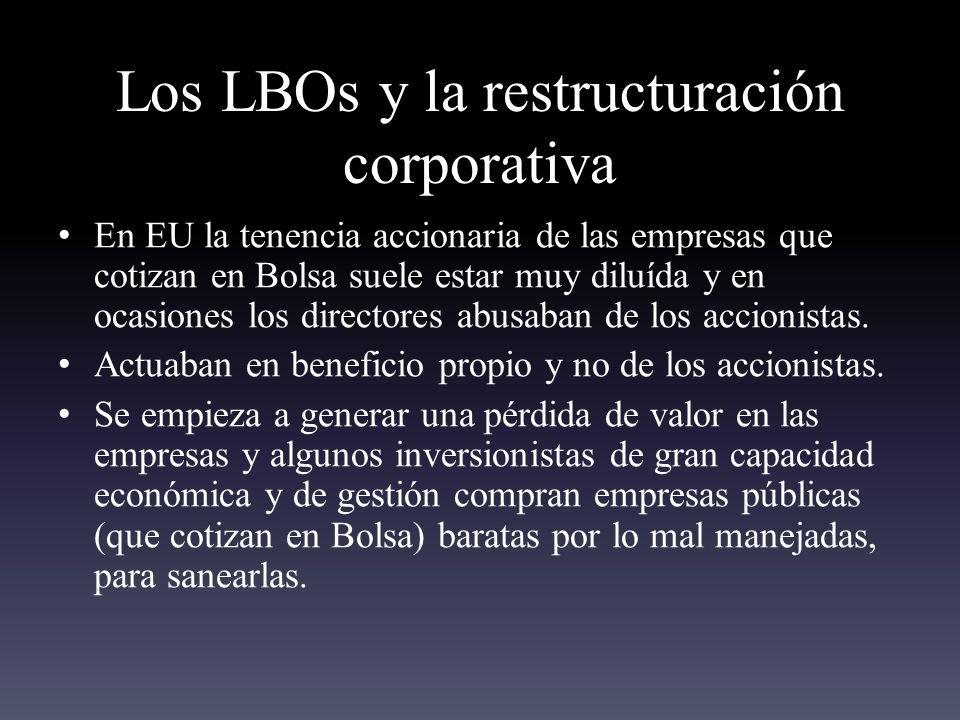 Los LBOs y la restructuración corporativa En EU la tenencia accionaria de las empresas que cotizan en Bolsa suele estar muy diluída y en ocasiones los directores abusaban de los accionistas.