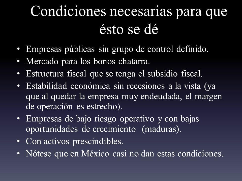 Condiciones necesarias para que ésto se dé Empresas públicas sin grupo de control definido.