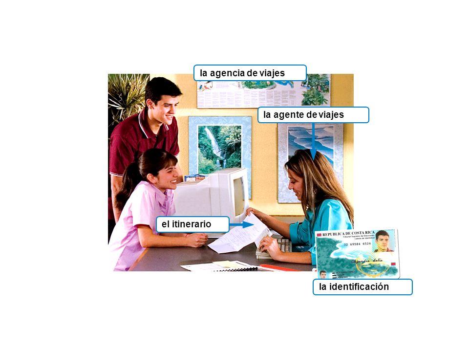 la agencia de viajes la identificación la agente de viajesel itinerario