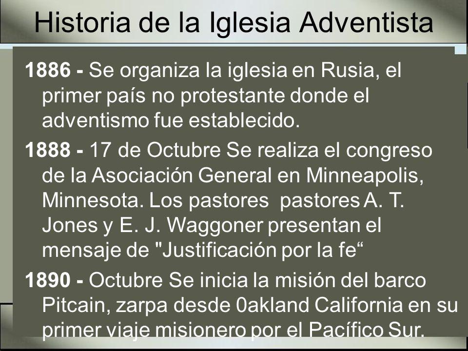 Historia de la Iglesia Adventista 1894 - Se comienza la obra en lugares no cristianos como Ghana, África del Oeste, y Matabeleland en Sudáfrica.