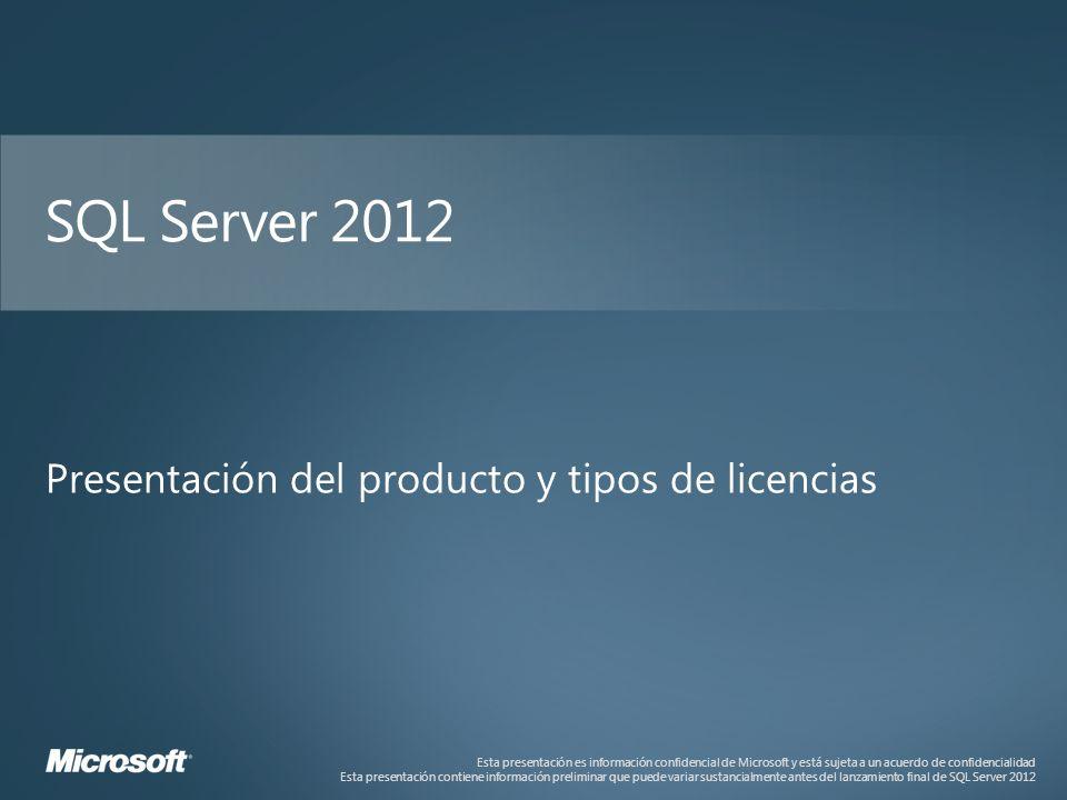 Esta presentación es información confidencial de Microsoft y está sujeta a un acuerdo de confidencialidad Esta presentación contiene información preliminar que puede variar sustancialmente antes del lanzamiento final de SQL Server 2012