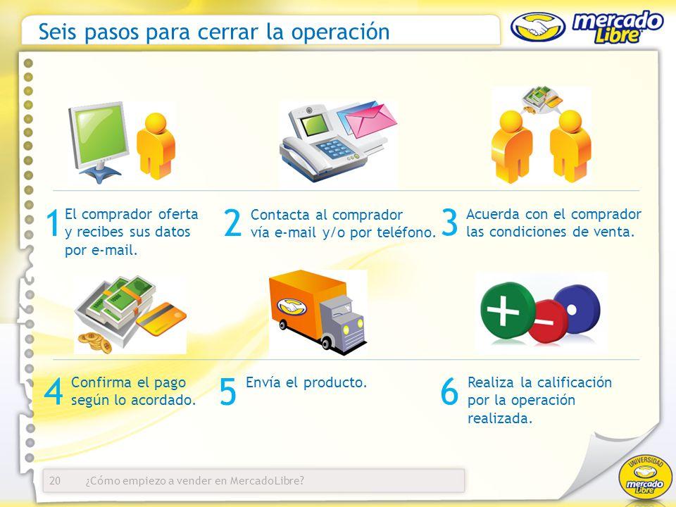 ¿Cómo empiezo a vender en MercadoLibre? Seis pasos para cerrar la operación El comprador oferta y recibes sus datos por e-mail. 20 12 3 Contacta al co