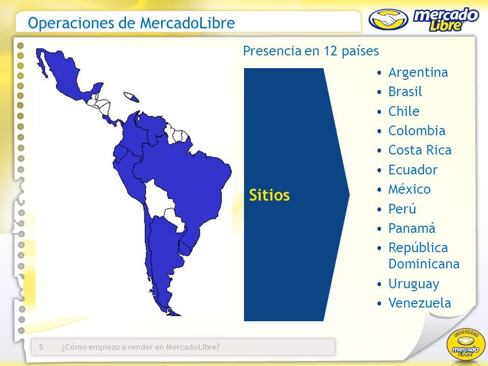 ¿Cómo empiezo a vender en MercadoLibre?5 Argentina Brasil Chile Colombia Costa Rica Ecuador México Perú Panamá República Dominicana Uruguay Venezuela