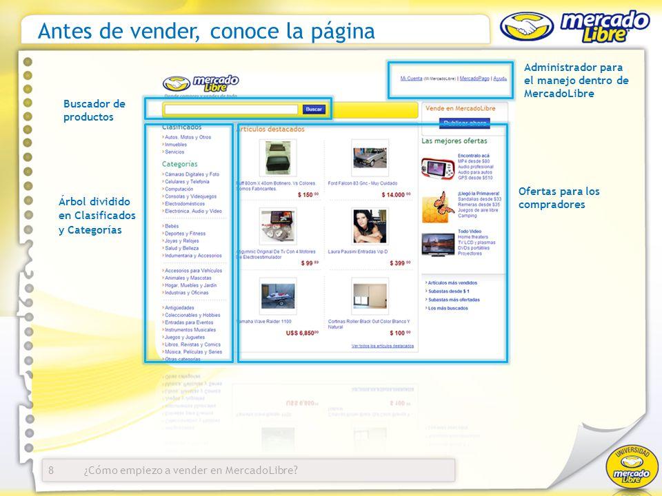 ¿Cómo empiezo a vender en MercadoLibre? Antes de vender, conoce la página Administrador para el manejo dentro de MercadoLibre Buscador de productos Of