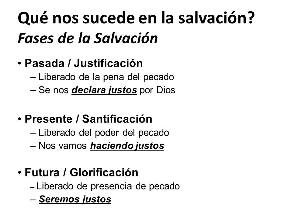 Qué nos sucede en la salvación? Fases de la Salvación Pasada / Justificación – Liberado de la pena del pecado – Se nos declara justos por Dios Present