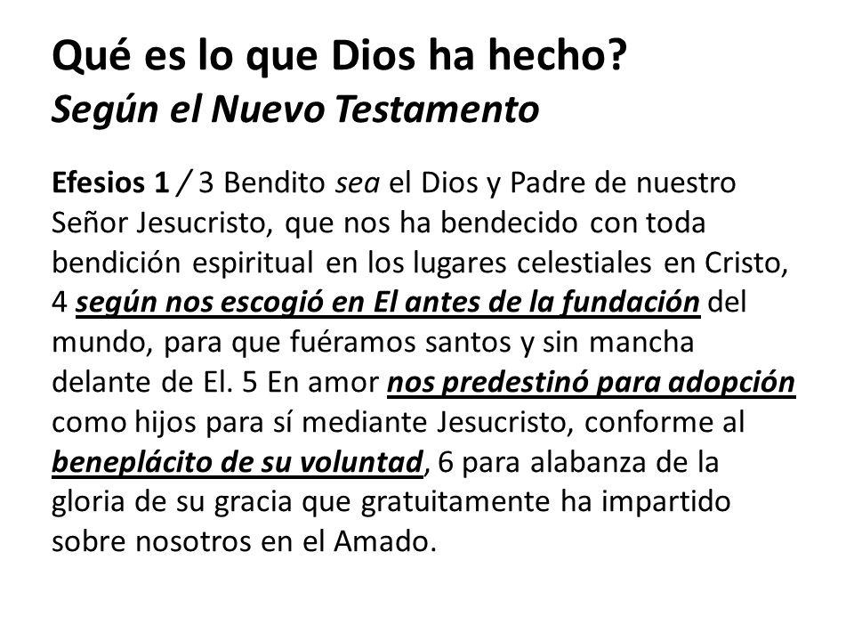 Efesios 1 / 3 Bendito sea el Dios y Padre de nuestro Señor Jesucristo, que nos ha bendecido con toda bendición espiritual en los lugares celestiales e