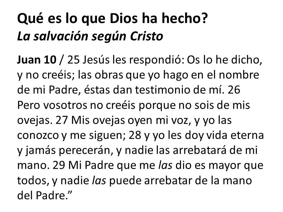 Juan 10 / 25 Jesús les respondió: Os lo he dicho, y no creéis; las obras que yo hago en el nombre de mi Padre, éstas dan testimonio de mí. 26 Pero vos