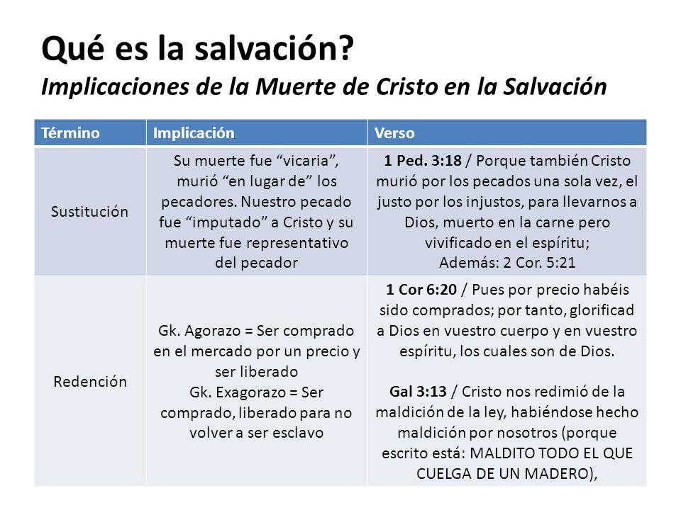 Qué es la salvación? Implicaciones de la Muerte de Cristo en la Salvación TérminoImplicaciónVerso Sustitución Su muerte fue vicaria, murió en lugar de