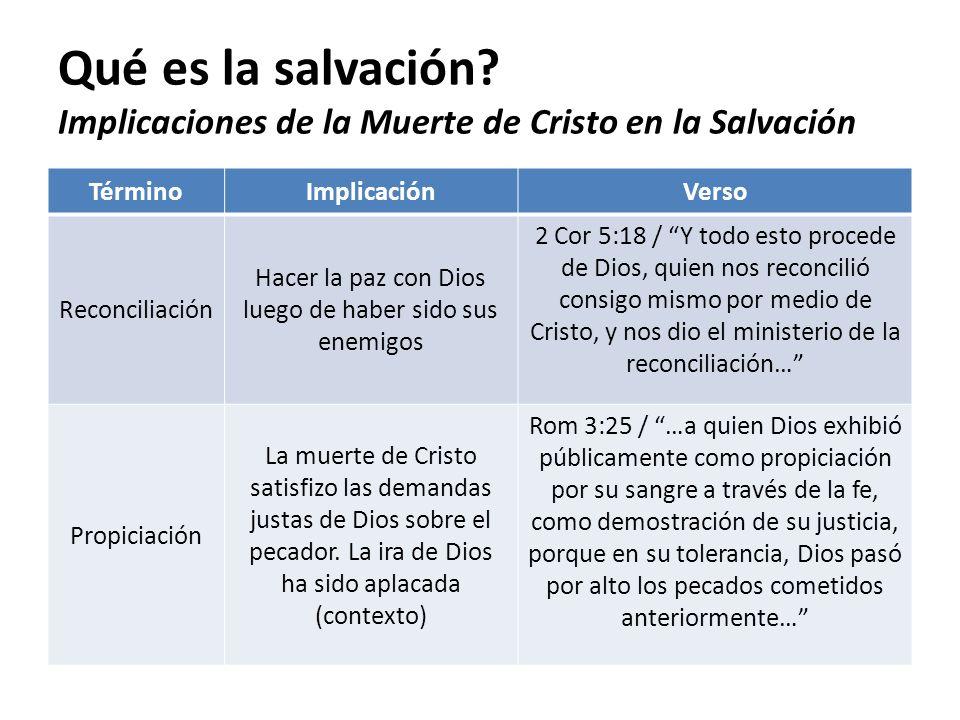Qué es la salvación? Implicaciones de la Muerte de Cristo en la Salvación TérminoImplicaciónVerso Reconciliación Hacer la paz con Dios luego de haber