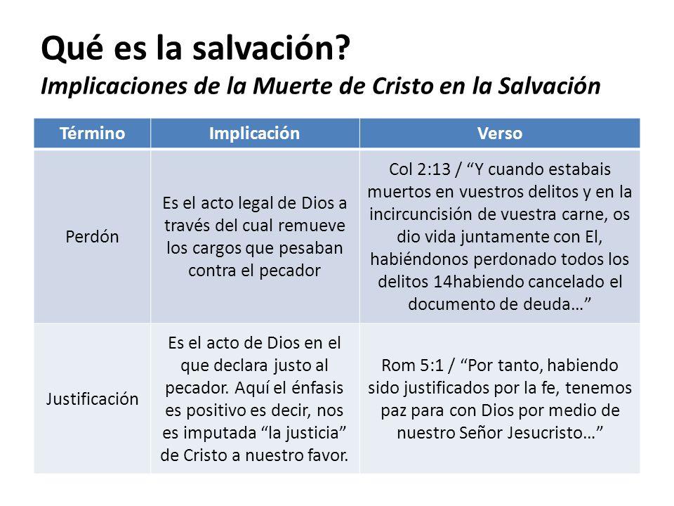 Qué es la salvación? Implicaciones de la Muerte de Cristo en la Salvación TérminoImplicaciónVerso Perdón Es el acto legal de Dios a través del cual re