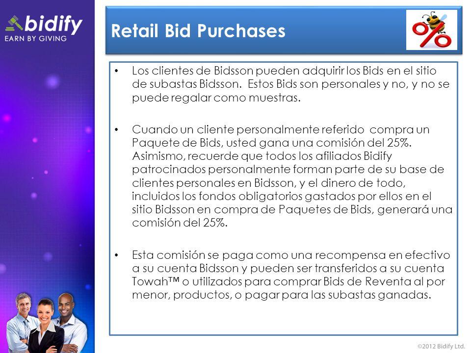 Retail Bid Purchases Los clientes de Bidsson pueden adquirir los Bids en el sitio de subastas Bidsson.