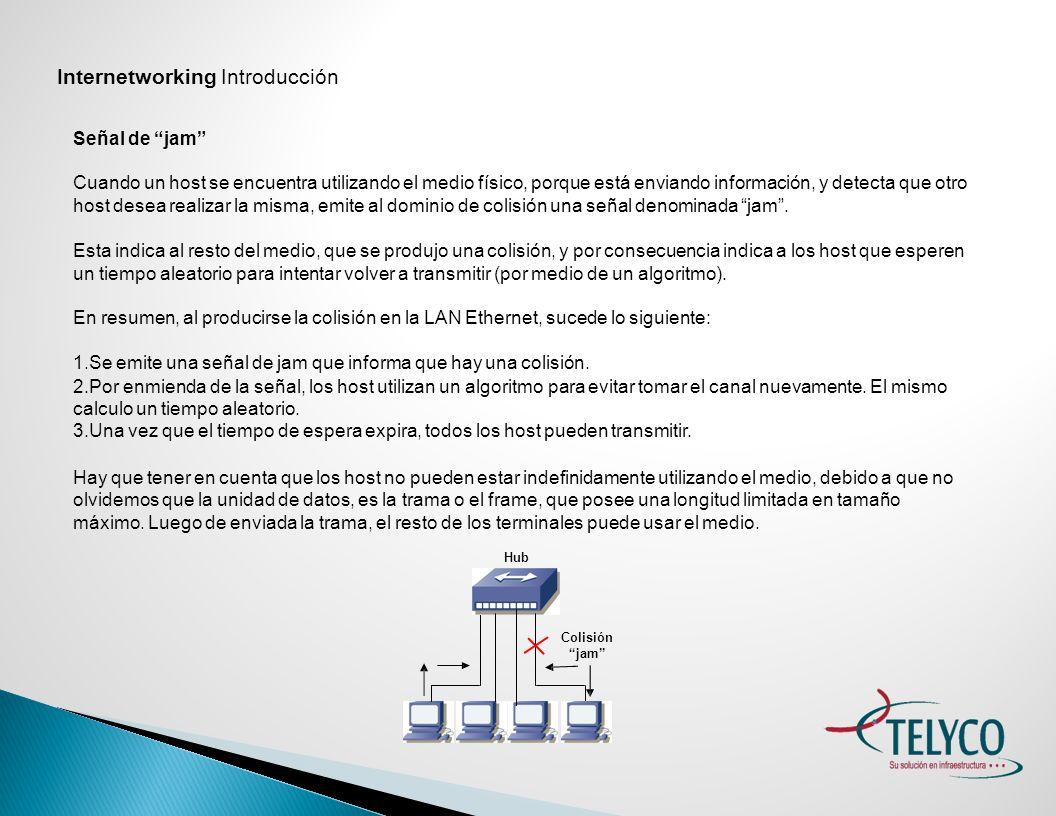 Internetworking Introducción Colisiones Que un medio de acceso esté saturado por una gran cantidad de terminales en el mismo, acarrea las siguientes consecuencias.