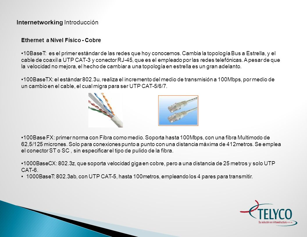 Internetworking Introducción Ethernet a Nivel Físico - Fibra 100Base FX: primer norma con Fibra como medio.
