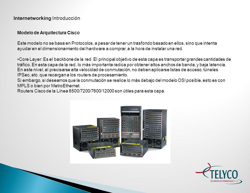Internetworking Introducción Modelo de Arquitectura Cisco Distribution Layer: por más que parezca obvio, la capa de Distribución es la encargada de vincular el Core con la red de Acceso.