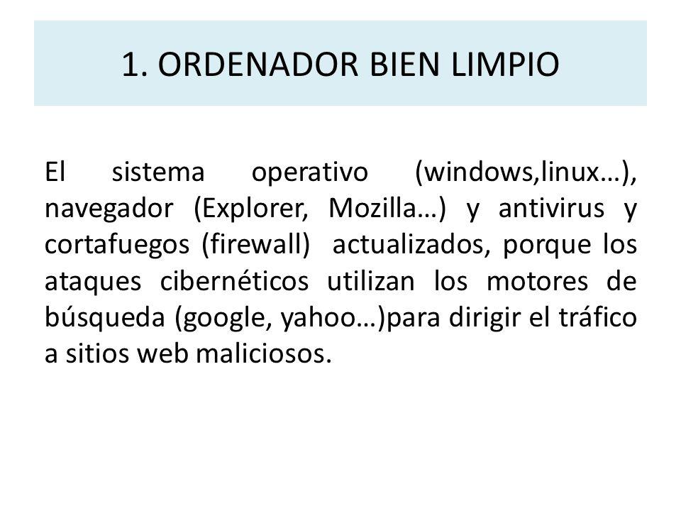 1. ORDENADOR BIEN LIMPIO El sistema operativo (windows,linux…), navegador (Explorer, Mozilla…) y antivirus y cortafuegos (firewall) actualizados, porq